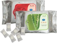 GINNI Refreshing Facial Wipes (Rose,Aloevera) (30 Wipes Per Pack) & 50 Coin Tissue (each Tissue Is In Candy Pack) (Pack Of 3)