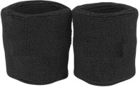 New Life Enterprise Wrist Sweat Fitness Band (Black, Pack Of 2)