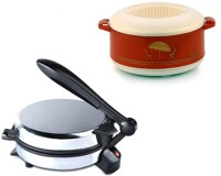 ECO SHOPEE COMBO OF NATIONAL DETACHABLE Roti- MAKER WITH CASSEROLE Roti/Khakhra Maker (Silver)