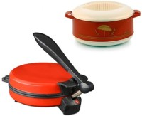 ECO SHOPEE COMBO OF DETACHABLE RED ROTI MAKER WITH CASSEROLE Roti/Khakhra Maker (Red)