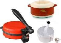 ECO SHOPEE COMBO OF EAGLE RED DETACHABLE ROTI MAKER, CASSEROLE AND DOUGH MAKER Roti/Khakhra Maker (Red)