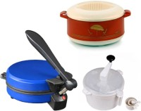 ECO SHOPEE COMBO OF EAGLE BLUE DETACHABLE Roti- MAKER, CASSEROLE AND DOUGH MAKER Roti/Khakhra Maker (Blue)