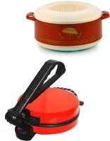 ECO SHOPEE COMBO OF NATIONAL RED ROTIMAKER WITH CASSEROLE Roti/Khakhra Maker (Red)
