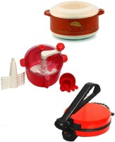 ECO SHOPEE COMBO OF RED Roti- MAKER, CASSEROLE AND RED DOUGH MAKER Roti/Khakhra Maker (Red)