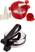 ECO SHOPEE COMBO OF EAGLE ROTIMAKER WITH RED DOUGH MAKER Roti/Khakhra Maker (Silver)
