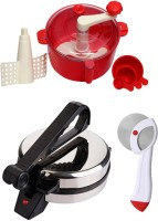 ECO SHOPEE COMBO OF EAGLE ROTI MAKER, RED DOUGH MAKER AND PIZZA CUTTER Roti/Khakhra Maker (Silver)