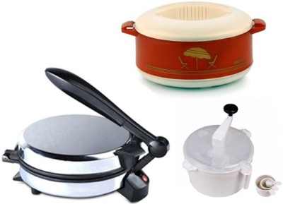 ECO SHOPEE COMBO OF EAGLE DETACHABLE ROTIMAKER, CASSEROLE AND DOUGH MAKER Roti/Khakhra Maker (Silver)