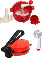 ECO SHOPEE COMBO OF RED ROTI MAKER, RED DOUGH MAKER AND PIZZA CUTTER Roti/Khakhra Maker (Red)