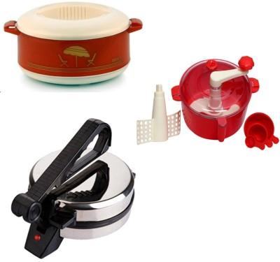 ECO SHOPEE COMBO OF EAGLE ROTI MAKER, CASSEROLE AND DOUGH MAKER Roti/Khakhra Maker (Silver)