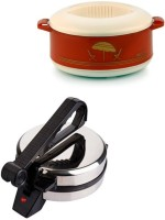 ECO SHOPEE COMBO OF NATIONAL ROTI MAKER WITH CASSEROLE Roti/Khakhra Maker (Silver)