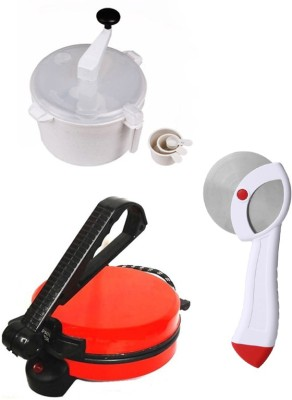ECO SHOPEE COMBO OF NATIONAL RED ROTI MAKER, DOUGH MAKER AND PIZZA CUTTER Roti/Khakhra Maker (Red)