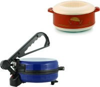 ECO SHOPEE COMBO OF EAGLE BLUE ROTI MAKER WITH CASSEROLE Roti/Khakhra Maker (Blue)