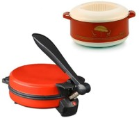 ECO SHOPEE COMBO OF EAGLE RED DETACHABLE Roti- MAKER WITH CASSEROLE Roti/Khakhra Maker (Red)