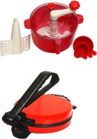 ECO SHOPEE COMBO OF NATIONAL RED ROTI MAKER WITH RED DOUGHMAKER Roti/Khakhra Maker (Red)