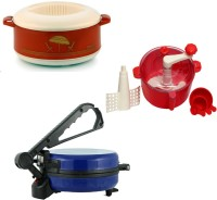 ECO SHOPEE COMBO OF BLUE ROTI MAKER, CASSEROLE AND RED DOUGH MAKER Roti/Khakhra Maker (Blue)