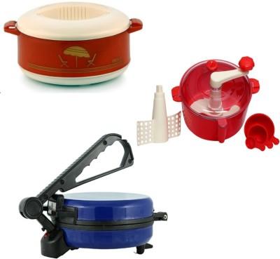 ECO SHOPEE COMBO OF BLUE ROTI MAKER, CASSEROLE AND RED DOUGH MAKER Roti/Khakhra Maker (Blue)
