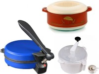 ECO SHOPEE COMBO OF DETACHABLE BLUE ROTI MAKER, CASSEROLE AND DOUGH MAKER Roti/Khakhra Maker (Blue)