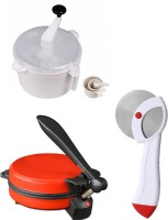 ECO SHOPEE COMBO OF EAGLE RED DETACHABLE Roti-MAKER, DOUGHMAKER AND PIZZACUTTER Roti/Khakhra Maker (Red)