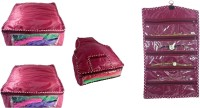 Addyz Plain Combo Of 2 Saree Covers And 1 Blouse Cover With 1 Watch Anklets Cover Storage Multipurpose Bag Maroon