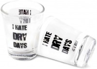 Happily Unmarried Dry Day Kitchen Shot Glass (30 Ml, White, Pack Of 2)