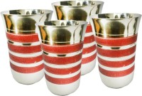 King International Corporate Drinking Glasses/ Gifting Glasses/With Red Sparkle Lining Set Of 4 Pcs KI-SS-GLS-CRSK-041 (250 Ml, Silver, Red, Pack Of 4)