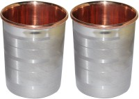 DakshCraft Drinkware Accessories Handmade Copper Tumblers, Set Of 2 DS121 (248 Ml, Silver, Pack Of 2)
