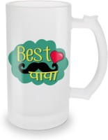 SKY TRENDS Best Papa With Black Mustaches And Red Heart Unique Gifts For Father's Day Glass Beer Mug (500 Ml, Multicolor, Pack Of 1)