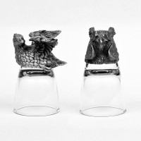 Trove Animal Head Shot Glasses,50ml,Set Of 2-Combo (50 Ml, Silver, Pack Of 2)
