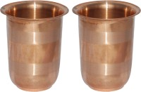 Prisha India Craft Handmade Copper Glass Silver Touch For Ayurveda Healing Glass030-2 (249 Ml, Gold, Pack Of 2)