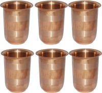 Prisha India Craft Handmade Copper Glass Silver Touch For Ayurveda Healing Glass030-6 (249 Ml, Gold, Pack Of 6)