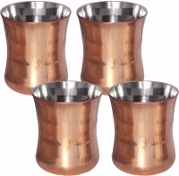 Prisha India Craft Copper Glass Drinkware Tumbler Indian Copper Utensils Glass031-4 (300 Ml, Gold, Pack Of 4)