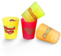 Happily Unmarried Naughty Shot Glass Set Of 4 (60 Ml, White, Pack Of 4)
