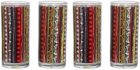 The Elephant Company Tumblers Triangle Warli 711-0 (380 Ml, Multicolor, Pack Of 4)