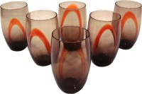 Hiplus High Quality Hand Made Glasses (550 Ml, Orange, Brown, Pack Of 6)