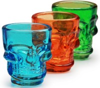 Circleware Colored Skull Shot Glass 51ml (51 Ml, Multicolor, Pack Of 6)