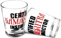 Happily Unmarried Kamasutra Kitchen Shot Glass (30 Ml, White, Pack Of 2)