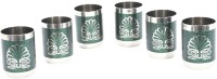 Dt Gold Textured Glass Green - Set Of 6 (150 Ml, Green, Pack Of 6)