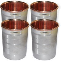 DakshCraft Drinkware Accessories Handmade Copper Tumblers, Set Of 4 DS123 (248 Ml, Silver, Pack Of 4)