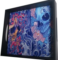 Indigo Creatives Gothic Skull With Flower Designer Bar Glass Cup Printed Wood Tray (Multicolor, Pack Of 1)