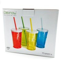 Devnow Summer Party Cocktail Tumbler With Lid And Straw (490 Ml, Multicolor, Pack Of 4)