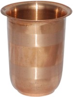 Prisha India Craft Handmade Pure Copper Glass Silver Touch For Ayurveda Healing Glass030 (249 Ml, Gold, Pack Of 1)