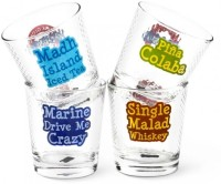 Happily Unmarried High On Mumbai Cocktail Glasses (300 Ml, White, Pack Of 4)