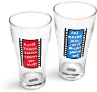 Happily Unmarried Hindi Filmy Beer Glass (350 Ml, White, Pack Of 2)