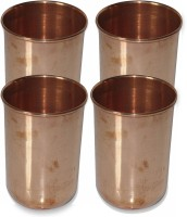 Prisha India Craft Drinkware Copper Tumbler Glasses For Ayurveda Healing Glass012-4 (320 Ml, Gold, Pack Of 4)