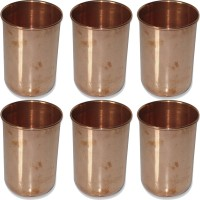 Prisha India Craft Drinkware Copper Tumbler Glasses For Ayurveda Healing Glass012-6 (320 Ml, Gold, Pack Of 6)
