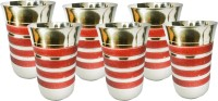 King International Corporate Drinking Glasses/ Gifting Glasses/With Red Sparkle Lining Set Of 6 Pcs KI-SS-GLS-CRSK-061 (250 Ml, Silver, Red, Pack Of 6)