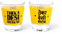 Happily Unmarried Theka Desi Kitchen Shot Glass (30 Ml, White, Pack Of 2)
