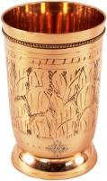 Indian Art Villa Handmade 250ML Shining Beautiful Leaf Design Brass Drinking Glass Mug Goblet (250 Ml, Gold, Pack Of 1)