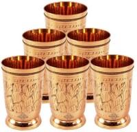 Indian Art Villa Handmade Shining Beautiful Leaf Design Brass Drinking Set Of 6 Glass Mug Goblet (250 Ml, Gold, Pack Of 6)
