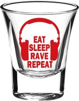 10 Am Eat Sleep Rave Repeat Shot Glass (60 Ml, Red, Pack Of 2)